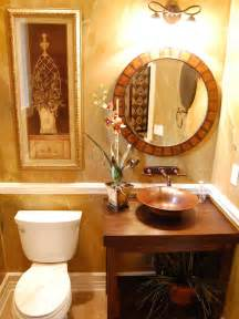 ideas for guest bathroom traditional brown and gold guest bathroom with oval mirror hgtv