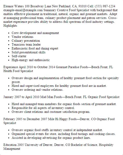 culinary specialist resume exles professional food specialist resume templates to showcase your talent myperfectresume
