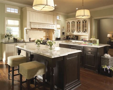 Cream colored cabinets and different countertops