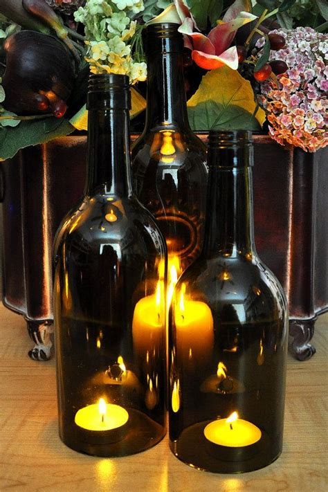 Italian Big Bottle Wine Hurricanes Candle Holder by Wine Bottle Candles Wedding Centerpiece Set Of 3