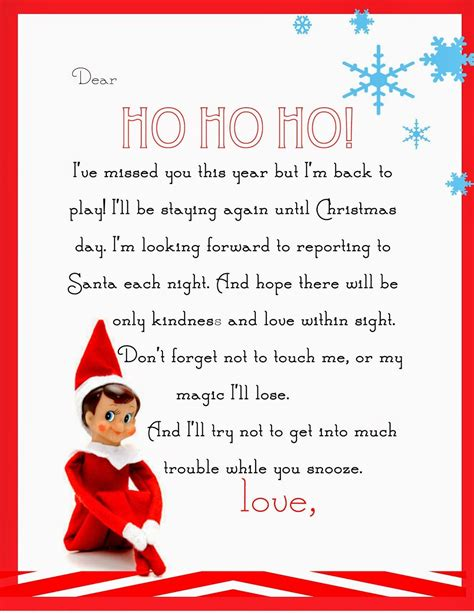 elf   shelf letter  printable christmas elf