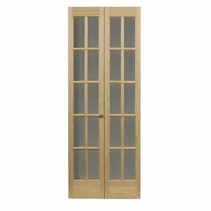 shop pinecroft 10 lite french solid core pine bifold With bifold french doors interior lowes