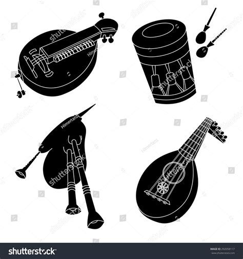 Set Hand Drawn Medieval Musical Instruments Stock Vector