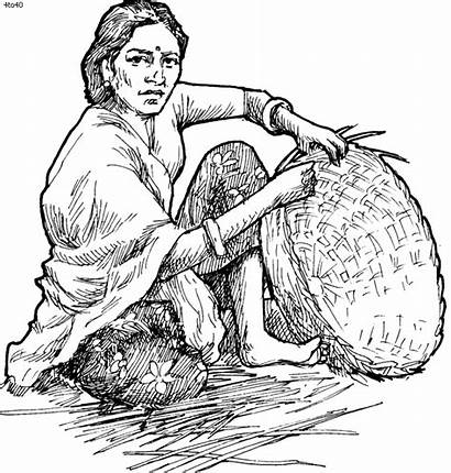 Basket Indian Clipart Drawing Weaving Sketches Pencil