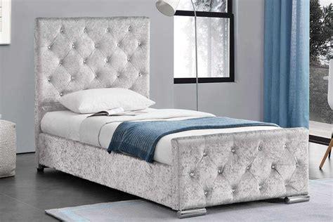 mattress topper beaumont diamante silver crushed velvet single bed frame