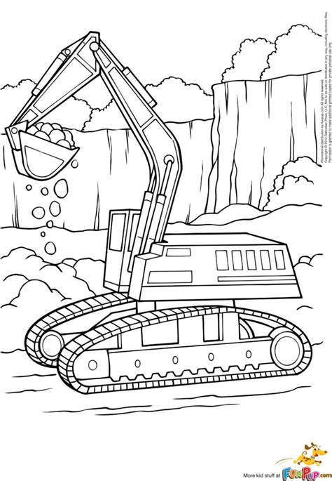 coloring pages  printable excavator coloring page