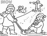 Snow Coloring Pages Colouring Print Winter Fun Colorings sketch template