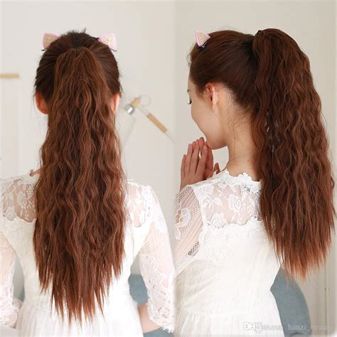 Long Kinky Curly Ponytail For Black Women Wine Red Pony