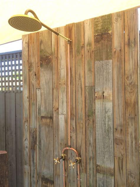 outdoor shower exposed brass  copper barndo