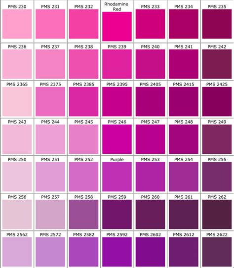 purple pink color pantone color guide for apparel printing racer ink