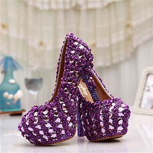 new elegant wedding shoes round toe purple lace appliques With purple dress shoes for weddings
