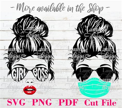 Easy steps on how to purchase and download Girl Face Messy Bun SVG Vector Cut File Sunglasses Mask | Etsy