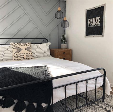 twobaystay guest bedroom gray feature wall bazaar home