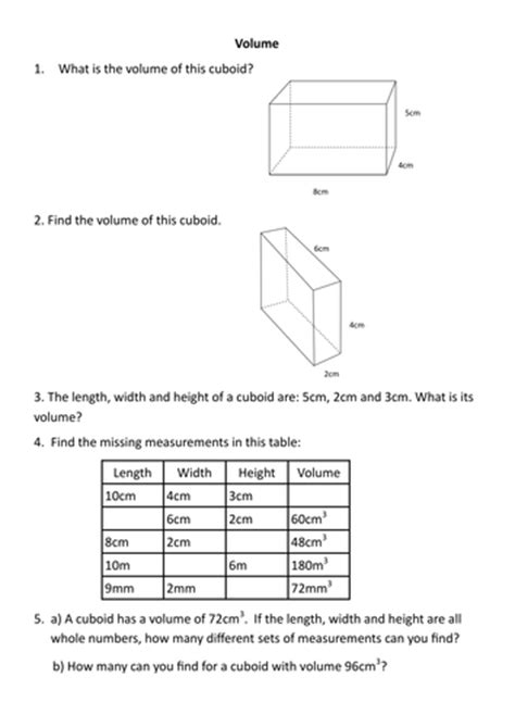 volume worksheet by sessa1 teaching resources