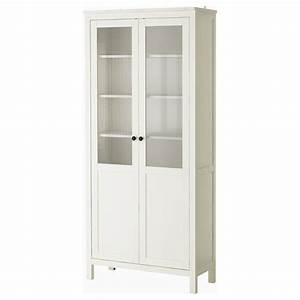 HEMNES Cabinet with panel/glass-door White stain 90 x 197