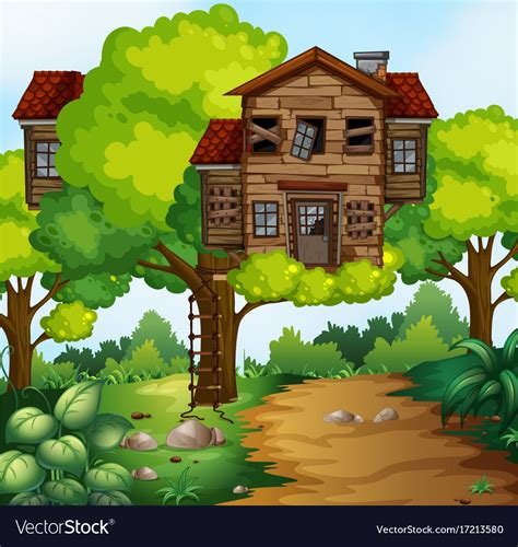 Big Treehouse In The Park Royalty Free Vector Image