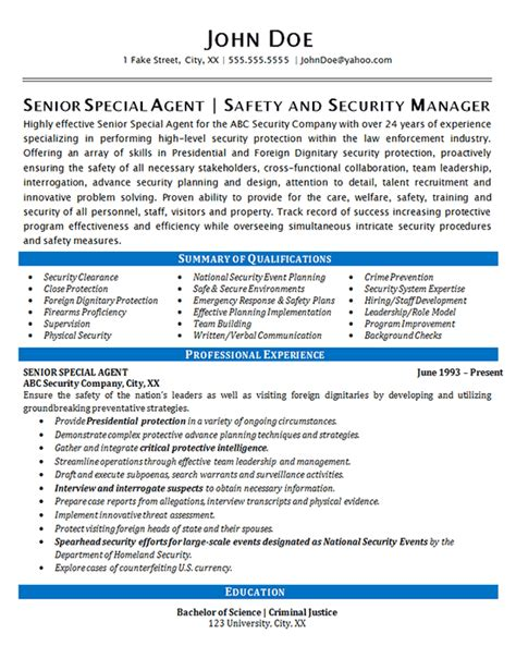 security agent resume  special agent