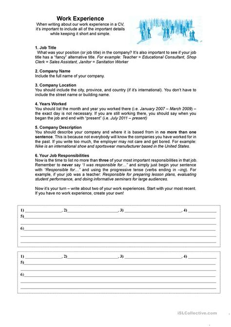 Work Experience Resume For Teaching by Work Experience For A Cv Resume Worksheet Free Esl Printable Worksheets Made By Teachers