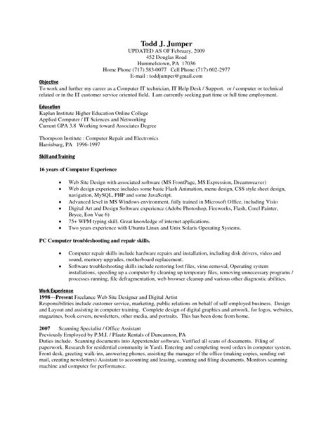 Different Resume Skills by Computer Skills Resume Sle Basic Computer Skills Resume