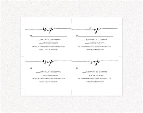 rsvp card printable template wedding templates
