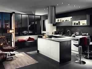 cuisine design noire blanche socooc home pinterest With decoration de cuisine americaine
