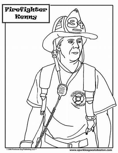 Coloring Firefighter Fire Pages Fireman Colouring Dog