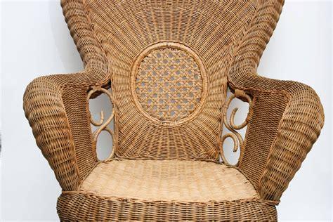 Large French Provençal Vintage Rattan Armchair For Sale At