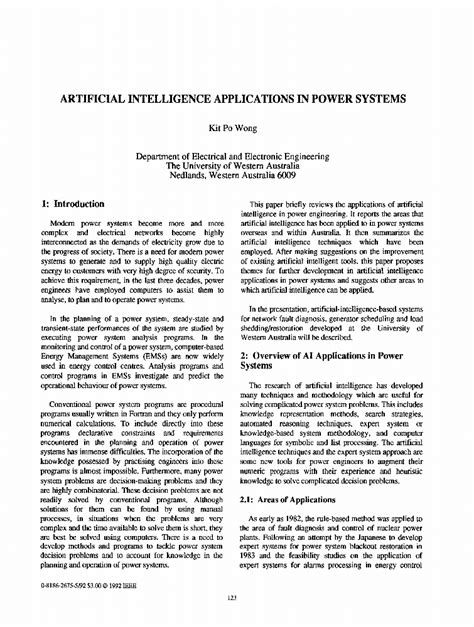 Artificial Intelligence Applications in Power Systems