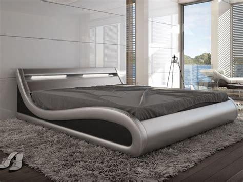 lit zalaris 160x200cm simili argent avec leds lit vente