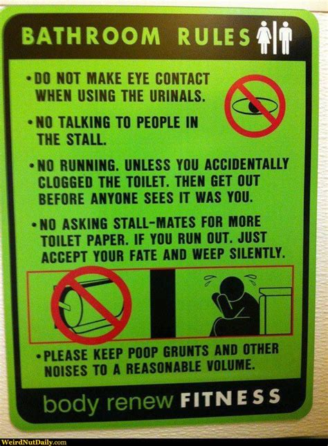 Funny Pictures @ Weirdnutdaily  Bathroom Rules