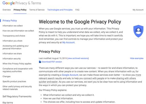 Privacy Policy Template For Apps by Privacy Policy Exle Privacy Policy Template