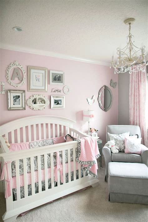 Soft and Elegant Gray and Pink Nursery Baby room Baby
