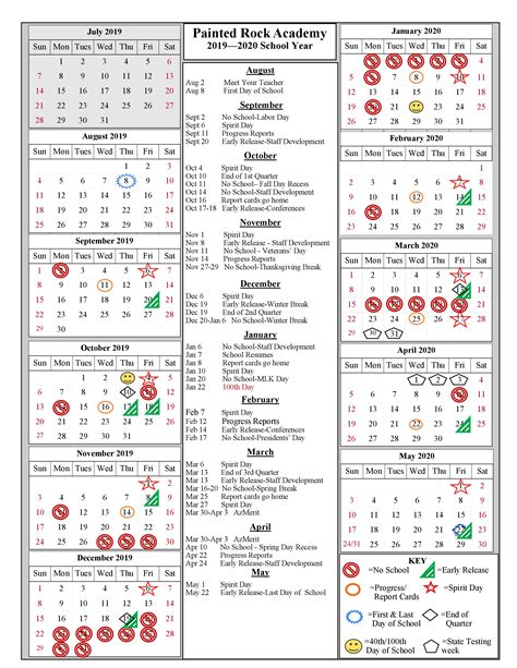 school year calendar painted rock academy