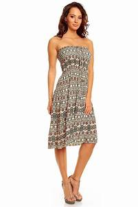 ladies floral pattern print summer beach holiday midi knee With daytime summer dresses