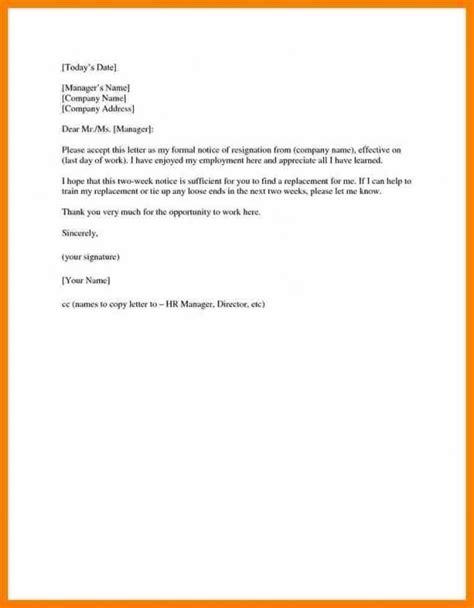 weeks notice sample template   resignation
