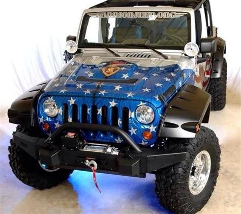 americana red white blue wounded warriors jeep