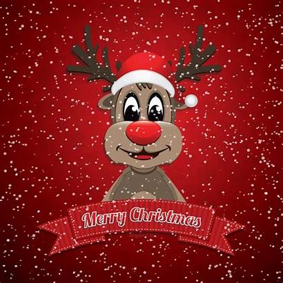Merry Cartoon Animation Wishes Reindeer Card Messages