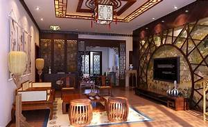 3D Chinese-style living room vintage woodworking 3D House