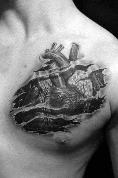 40 3D Heart Tattoo Ideas For Men - Three Dimensional Designs