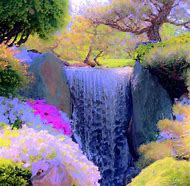 Paintings of Spring Waterfalls