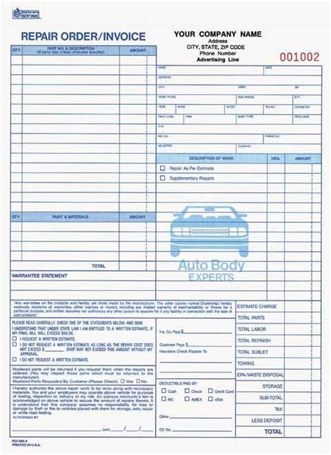 Bills Garage by 4 Part Auto Repair Order Invoice Carbonless Auto