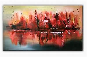 Moderne Kunst Leinwand : red skyline moderne malerei acrylbild gem lde original kunst k nstler bild auf leinwand malerei ~ Sanjose-hotels-ca.com Haus und Dekorationen