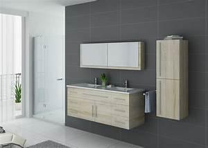 Meuble Salle De Bain Moderne : meuble de salle de bain bois clair double vasque meuble ~ Nature-et-papiers.com Idées de Décoration