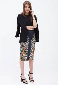 Forever 21 Mirrored Floral Pencil Skirt in Black   Lyst