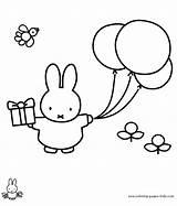 Miffy Coloring Nijntje Kleurplaat Kleurplaten Cartoon Balloons Characters Gift Printable Dick Colouring Gifts Bruna Kinderen Silverware Template Verjaardag Gratis Plate sketch template