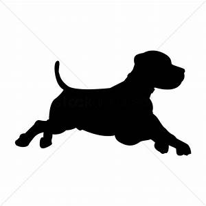 Silhouette of dog running Vector Image - 1439131 ...