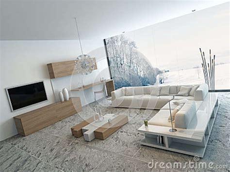 salon blanc moderne avec les meubles en bois illustration stock illustration du luxe home