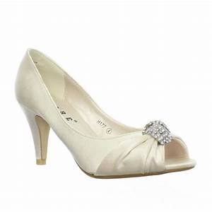 womens low heel peep toe diamante brooch wedding bride With low heel dress shoes for wedding