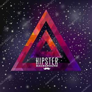 Hipster background made of triangles and space background ...