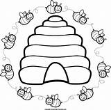 Bee Beehive Clipart Coloring Hive Clip Biene Abejas Transparent Drawing Margaritaville Patterns Abeja Dibujos Cliparts Bienen Flor Projekte Etc Colmenas sketch template